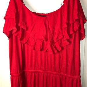 Forever 21 red ruffle top maxi